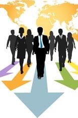 Group of global business people walk forward on progress arrows