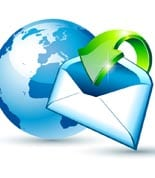 Global Shipping and Communication Email concept illustrations wi