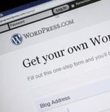 WordPress website on a computer screen. Ostersund, Sweden – Augu