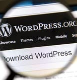 Ostersund, Sweden – August 3, 2014: Close up of WordPress websit