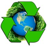Recycle logo with tree and earth. Eco globe with recycle signs.