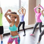 fitness, sport, dance and lifestyle concept – group of smiling p