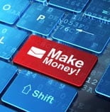Finance concept: Email and Make Money! on computer keyboard back